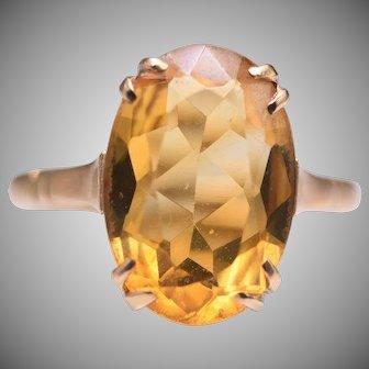 Vintage 9k / 9ct Yellow Gold 6.8 Carat Citrine Ring