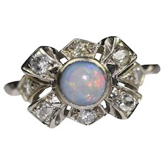 Vintage 14k White Gold Opal and Diamond Bow Ring