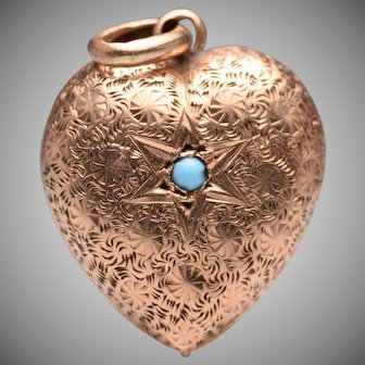 Antique Turquoise 14k Puffy Heart Charm / Pendant