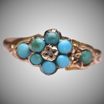 Antique Victorian 14k Yellow Gold Tulip Flower Turquoise Ring