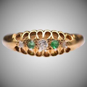 Antique 18k Yellow Gold Emerald & Diamond Ring