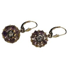 18k Gold Button Conversion Earrings with Amethyst Stones