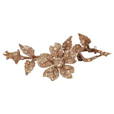Antique Late Victorian En Tremblant Brooch with Paste Stone Flower