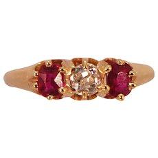 Antique C. 1900-1910 14k Yellow Gold Ruby & Diamond Ring