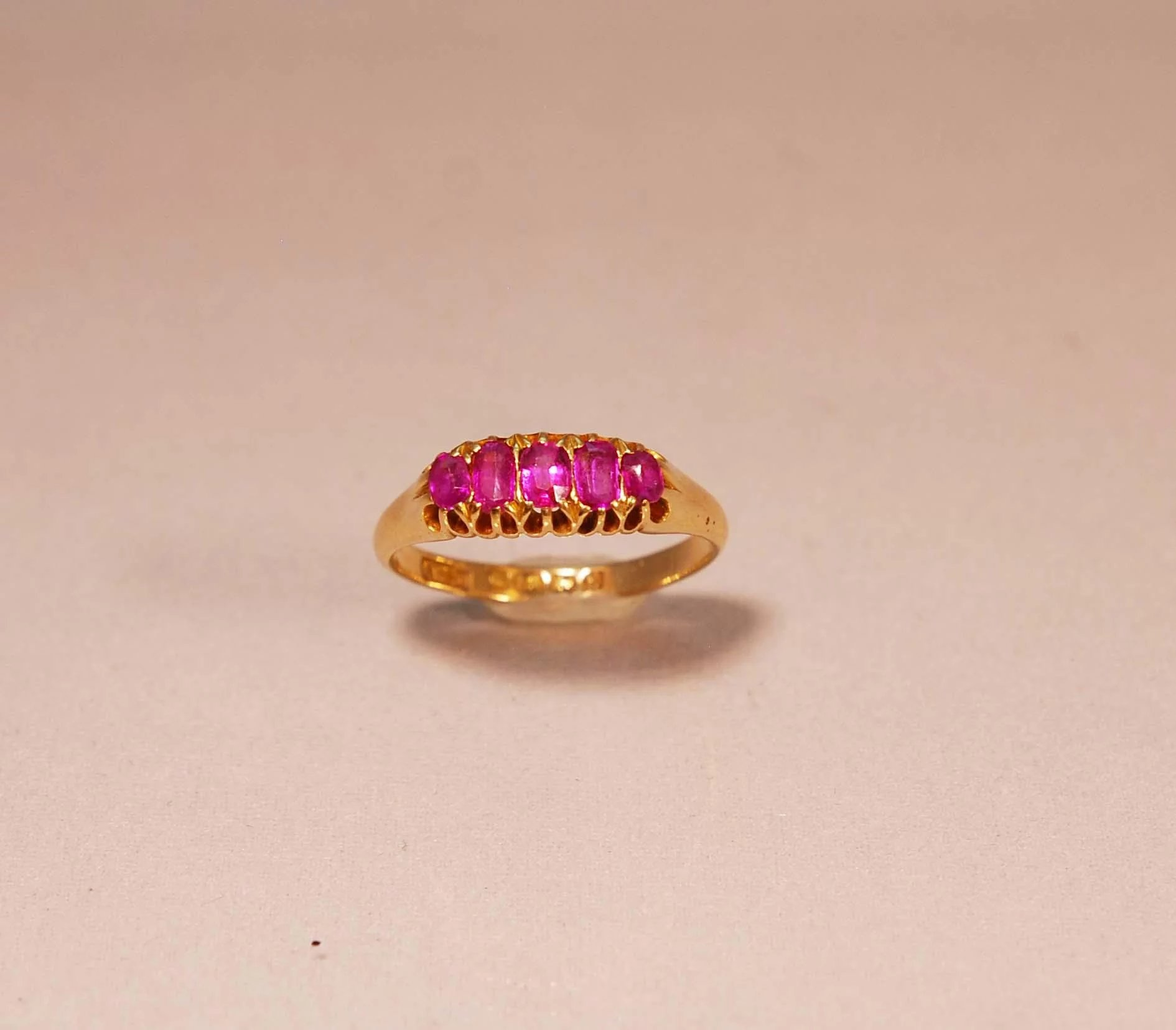 Antique Edwardian C. 1907 5 Stone Ruby Ring in 18k Yellow Gold ...