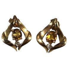 Vintage 14k Yellow Gold Deep Yellow Sapphire and Diamond Earrings