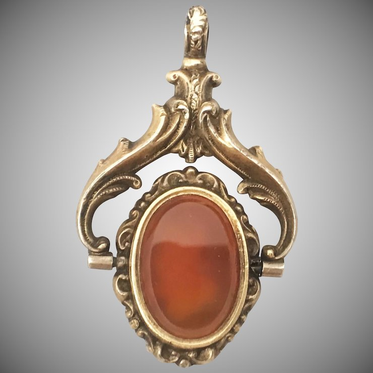 Antique Victorian C 1850s 12k Carnelian Mourning Swivel Fob