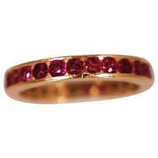 Vintage 14k Yellow Gold & Ruby Eternity Band
