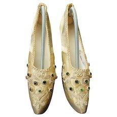 19th century French gold lame shoes