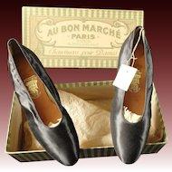 Silk evening shoes in original box from Au Bon Marche Paris dated 1912