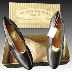 Silk evening shoes in original box from Au Bon Marche Paris dated 1912