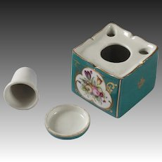 19th century porcelain de Paris covered ink well and pen stand