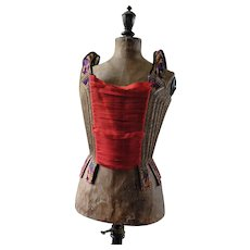 18th Century corset in purple silk brocade