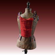18th Century corset in purple silk brocade