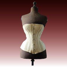 Antique Victorian Corset, off white, metal stays, corset, 1880s