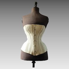 Antique Victorian Corset, off white, metal stays, corset, 1880s