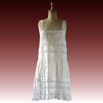 1920s Cotton lace slip, petticoat, lingerie, 32 inch bust