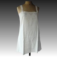 "Linen 1920s chemise with cutwork embroidery and monogram MV, 36"" bust"