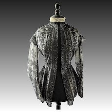 Victorian lace jacket and hood, bobbin lace, black lace