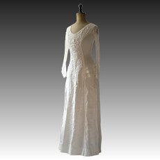 Edwardian cream linen dress,