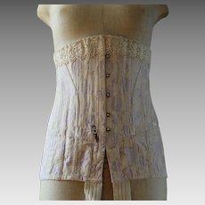 Antique corset 1905, brocade, lilac, lace trim