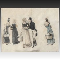 Original watercolour dated 1817-1830 Le Bon Genre French Fashion