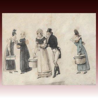 Original watercolour dated 1817-1830 Le Bon Genre French Fashion