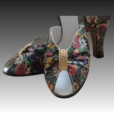 1936 Floral lame shoes, sample, unworn