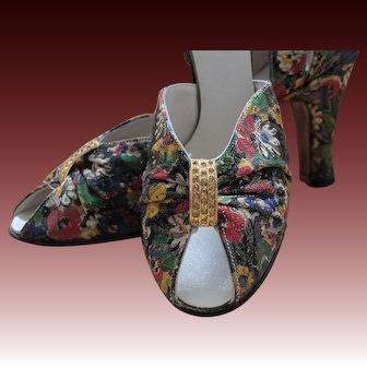 1936 Floral lame shoes, sample, unworn