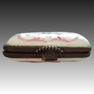 French collectible pill box, crown clasp, hand painted, pink, purple, makers mar on reverse