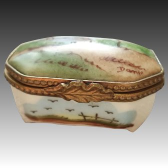 Limoges hand painted landscape pill box, signed
