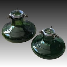 Bulach Green glass 1930s Christmas tree stands two, large and small size