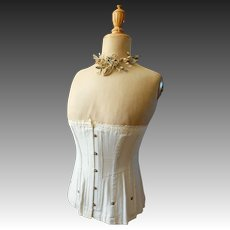 Antique Edwardian Corset, duck egg blue, 24 inch waist