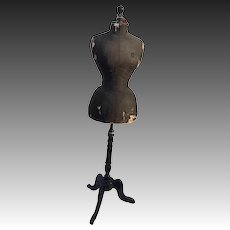 Shabby wasp waist Stockman Mannequin, dress form, black antique, French 1900