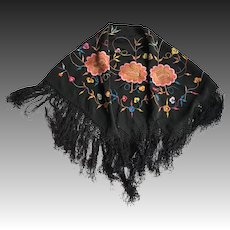 Small black, embroidered, shawl, floral