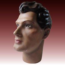 Vintage hairdressers mannequin, art deco male mannequin head,
