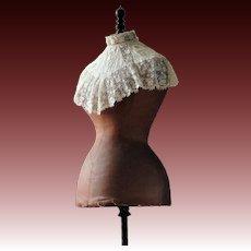 Antique wasp waist dress form, Stockman mannequin, 1880