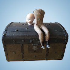 Antique dolls trunk for French fashion doll