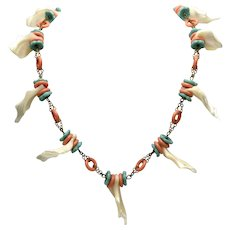 1970s Miriam Haskell Necklace with Natural Shell, Faux Coral & Turquoise-Colored Rondells