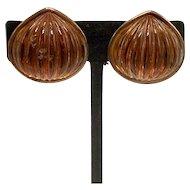 Yves St. Laurent Clip-on Copper and Amber Resin Earrings
