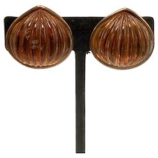 Yves St. Laurent Clip-on Copper and Amber Resin Earrings