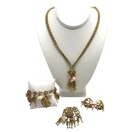 Fish and Seashell Necklace, Bracelet, Pendant and Earring Parure by ART