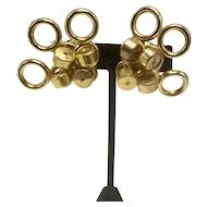 Vintage Brass Random Circles Clip-on Earrings
