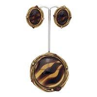 Original by Robert Faux Tortoiseshell Pin/Pendant and Earring Set