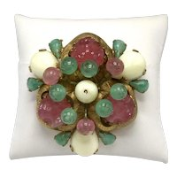 Brania Brooch with Pink, Green and Cream