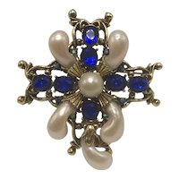 Faux Baroque-Pearl Filagree Deco-Look Brooch With Bright Blue Stones