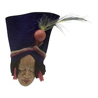 1940s Elzac Lady's Head Brooch with Felt Hat
