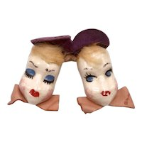 1940s Elzac Ceramic Blue-Eyed Twins Pin