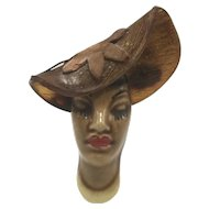 1940s Elzac Ceramic Lady's Head Pin with Lucite Hat