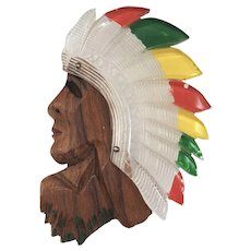 Elzac Wooden Indian with Painted Reverse Carved Lucite Headdress Pin